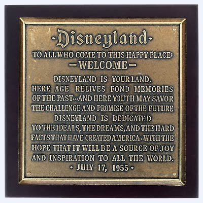Disneyland® Dedication Plaque
